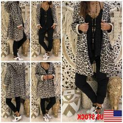 Women's Leopard Hooded Long Coat Cardigan Loose Outwear Kimo