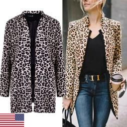 Women's Leopard Jacket Sweater Tops Warm Casual Winter Cardi