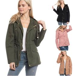 Women's Military Anorak Safari Jacket with Pockets & Hood Co