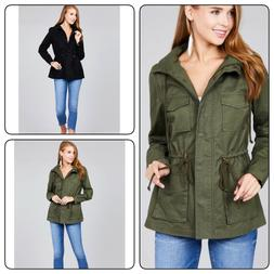 Women's Military Anorak Safari Jacket with Pockets and Hood