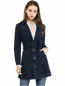 Women's Notched Lapel Belted Trench Long Jean Denim Jacket