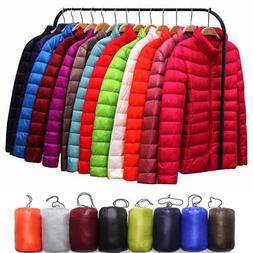 Women's Packable Down Jacket Ultralight Stand Collar Coat Wi