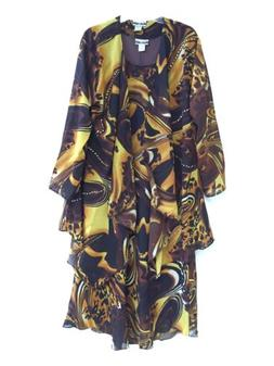 Women's Plus size Printed Two Piece Duster Jacket Dress Sets