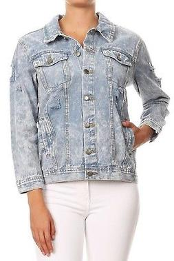 Women's Premium Denim Jackets Long Sleeve Ripped Printed Jea