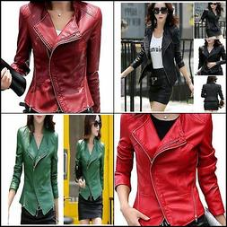 Tanming Women's Short Slim Slant Zip Faux Leather Moto Jacke