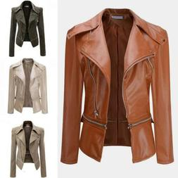 Women's Slim Fit Motorcycle Biker Leather Jacket Winter Casu
