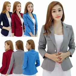 Women's Slim Solid Suit Blazer Jacket Coat Casual One Button