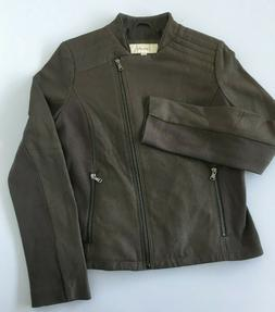 Women's Small Moto Inspired Leather Zipper Jacket Taupe NWOT