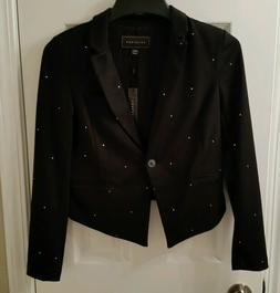 Women's Metaphor Solid Black Stud Tuxedo Jacket Size XS