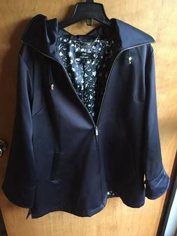 Dennis Basso Women's Solid Navy Blue Hooded Zip Up Coat Jack