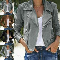 Women's Suede Leather Jacket Flight Coat Zip Up Biker Casual