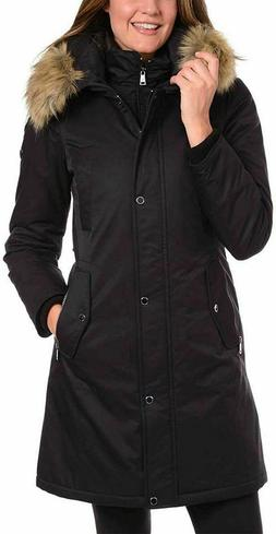 1 Madison Women's Water Resistant Long Parka Hooded Jacket B