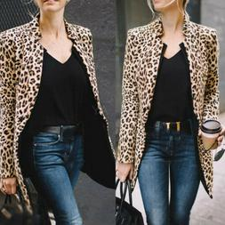 Women's Wild Leopard Jacket Sweater Tops Casual Cardigan Lon
