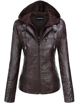 Tanming Women's Womens Hooded Faux Leather Jackets Small, Da