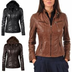 Women's Zipper Slim Leather Jacket Outwear Removable Warm Ho