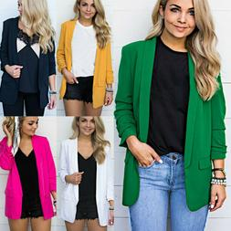 Women Solid Casual Long Sleeve Blazer Jacket Outwear Career