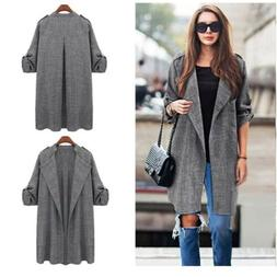 Women Solid Spring Windbreaker Casual Loose Blazer Jacket Pl