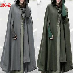 Women Trench Coat Hooded Open Front Cardigan Jacket Outwear