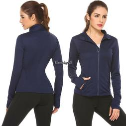 Women Turtleneck Zip Up Solid Slim Fit Active Casual Sports