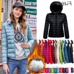 Women Ultralight Hooded Down Jacket Puffer Parka Packable Ou