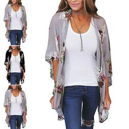 Women Vintage Floral Loose Shawl Long Kimono Cardigan Top Ja