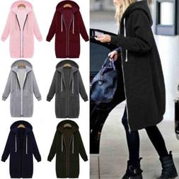 Women Warm Zipper Hoodie Sweater Hooded Long Jacket Coat Swe