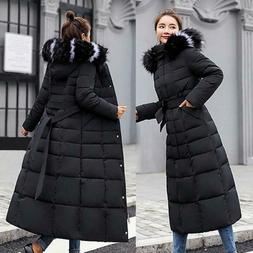 Women Winter Down Jacket Hooded Warm Cotton-padded Long Slee