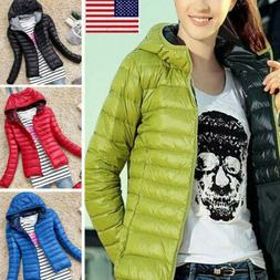 Women Winter Quilted Padded Puffer Bubble Hooded Zip Lightwe