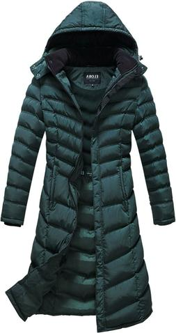 ELORA Women Winter Warm Full Length Quilted Puffer Coat Hood