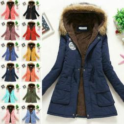 Women Winter Warm Hooded Coat Windproof Faux Fur Parka Jacke