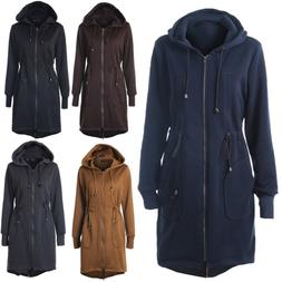 Women Trench Hooded Coat Jacket Outwear Winter Warm Overcoat