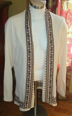 Lucky Brand Women  XL Open Front IVORY Embroidered Boho Jack