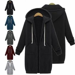 Women Zipper Hoodie Sweater Hooded Long Jacket Sweatshirt Co