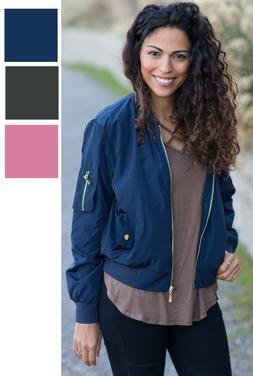 Womens Bomber Jacket Classic Zip Up Biker Fashion Outwear To