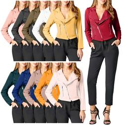 NE PEOPLE Womens Casual Zipper Closure Moto Poly Span Outerw