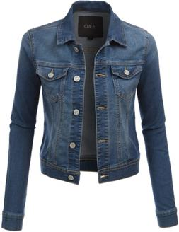 LE3NO Womens Classic Long Sleeve Denim Jean Jacket with Pock