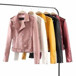 Womens Faux Leather Jackets Coat Casual Lapel Short Parka Ou
