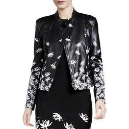YYigal Womens Faux Leather Mixed Media Printed Moto Coat Jac