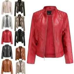 Womens Faux Leather Punk Jacket Bomber Coat Zip Biker Motorc