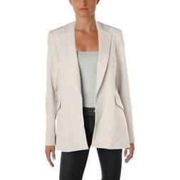 Tommy Hilfiger Womens Gray Twill Open-Front Blazer Jacket 2