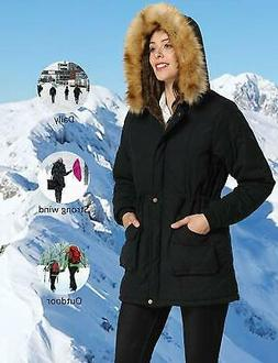 iloveSIA Womens Hooded Coat Faux Fur Lined Jacket Black 14,