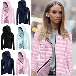 Womens Hooded Quilted Coat Lightweight Puffer Bubble Padded