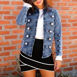 Womens Lady Denim Jacket Jeans Stretch Fitted Button Jackets