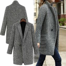 Womens Lapel Wool Cashmere Coat Trench Jacket Long Parka Ove