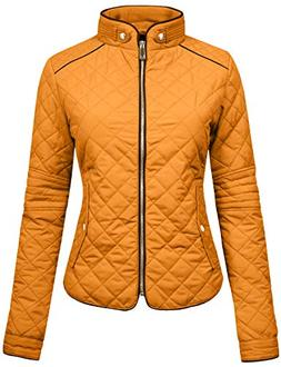 NE PEOPLE Womens Lightweight Quilted Zip Jacket-MUSTARD-2XL