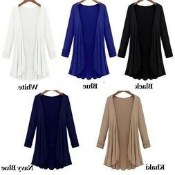 PLUS SIZE Womens Long Sleeve Cardigan Blouse Ladies Casual J