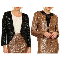 womens sexy sequin long sleeve casual blazer