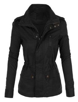 LE3NO Womens Stand Collar Safari Anorak Jacket with Pockets