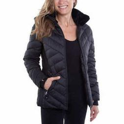 Nautica Womens Stretch Water Resistant Puffer Jacket Black N
