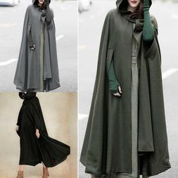 Women's Trench Coat Open Front Cardigan Jacket Coat Cape C